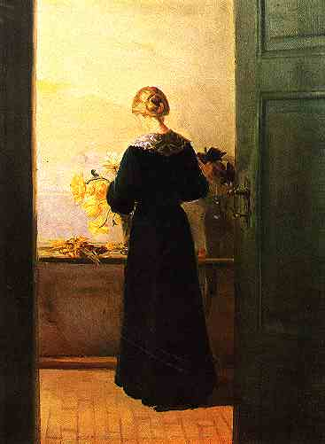 """Young Girl Arranging Flowers"", c. 1885, oil on canvas by Anna Ancher (1859-1935)."