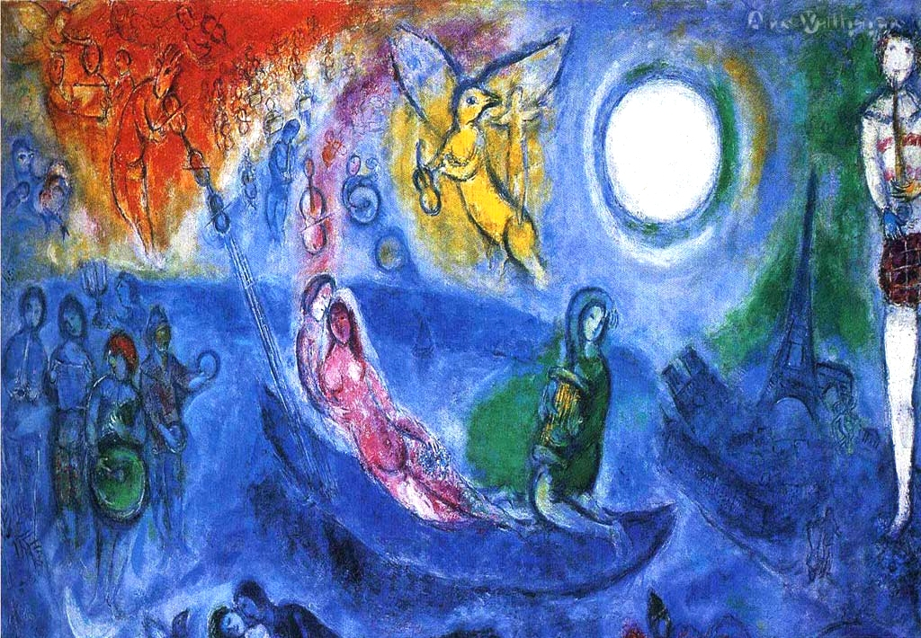 "Chagall's large painting ""The Concert"" (1957) with Chopin symbolism discovered by Icons of Europe."