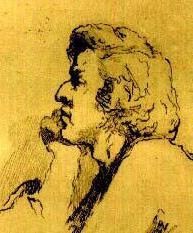 Detail of etching of Fryderyk Chopin by Teofil Kwiatkowski;  from Frederick Niecks' biography of Chopin.