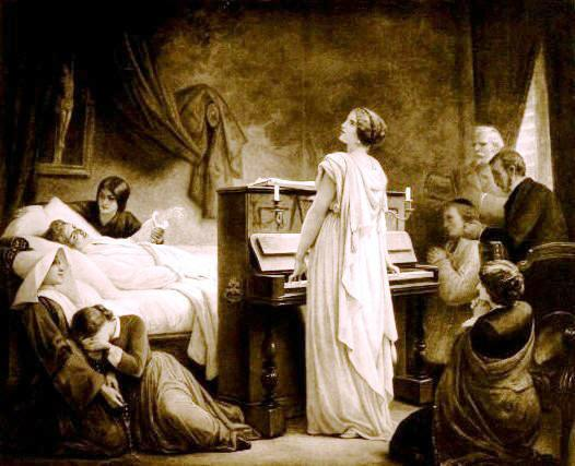 �La Mort de Chopin�;  detail of lithograph based on an 1885 oil painting by F�lix Barrias.  Icons of Europe considers that the woman in white is Jenny Lind.