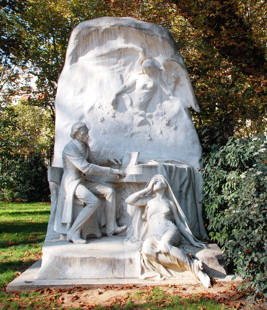 Sculpture of Chopin by Jacques Froment-Meurice at Parc Monceau, Paris, 1906.  Icons of Europe has concluded that the woman portrays Jenny Lind.