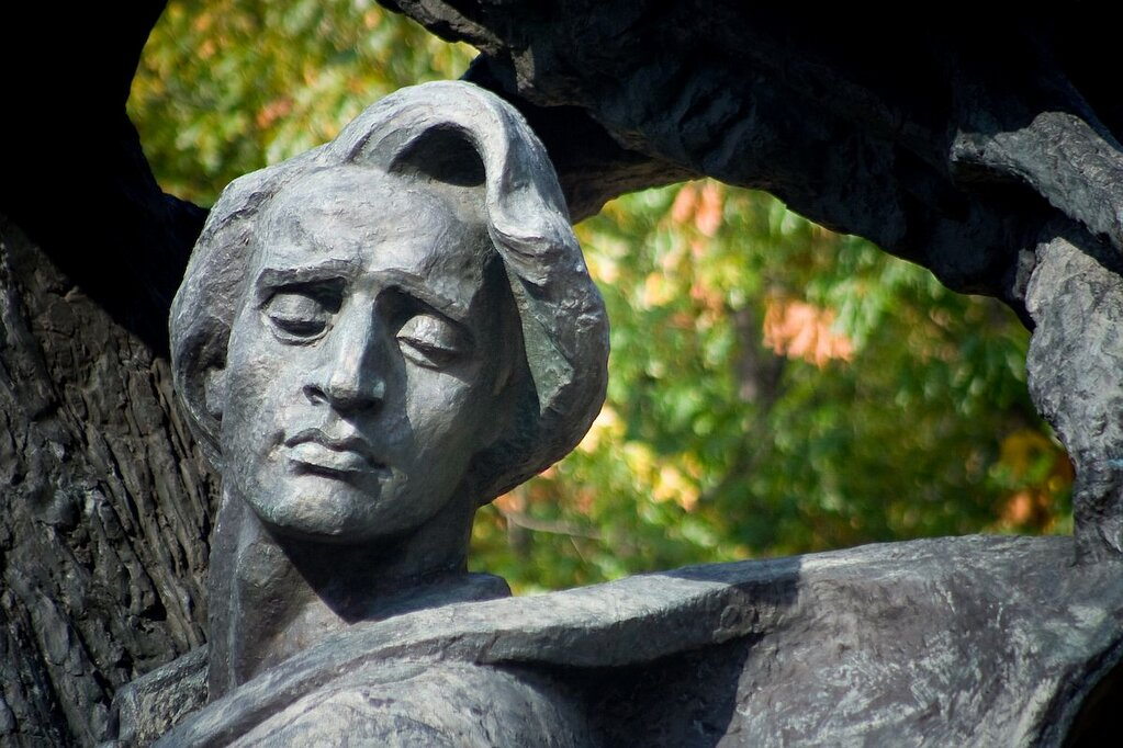 Detail of the Chopin monument in Lazienki Park, Warsaw.The Orpheus symbolism has been explained by Icons of Europe, Brussels.