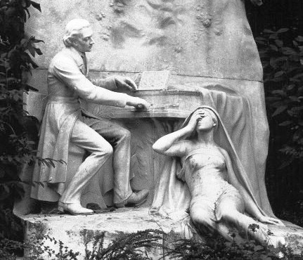 Sculpture of Chopin by Jacques Froment-Meurice at Parc Monceau, Paris, 1906.  Provenance and meaning have been researched by Icons of Europe.