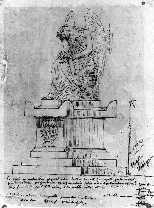 Clésingers's initial drawing of 6 November 1849 for Chopin's tomb at Père-Lachaise.