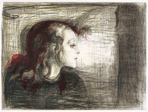 "Edvard Munch: ""The Sick Child I"", lithograph, 1896."