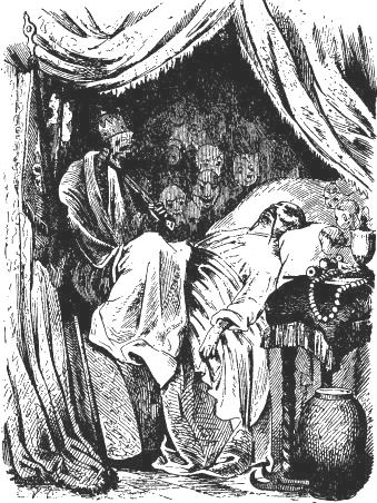 "In Hans Christian Andersen's story ""The Nightingale"" (1843), the Chinese emperor saw 'Death sitting on his chest'.  Drawing by Vilhelm Pedersen (1872)."