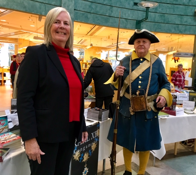 "Cecilia Nordenkull presents her new book ""KARL XII: Kungamord"" at the Halland Book Fair 2018 in Kungsbacka."