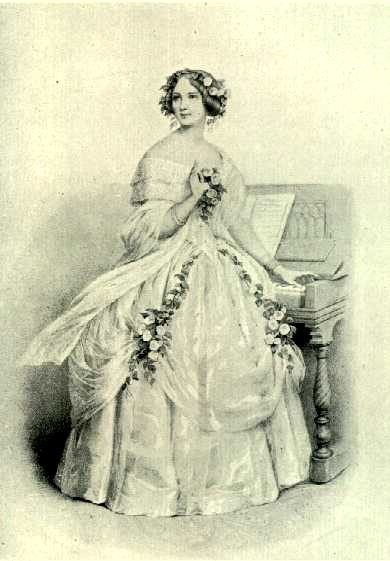 Facing the audience and singing, Jenny Lind sounds the A on the piano to produce  an echo effect.  Lithograph after H. Leloir.