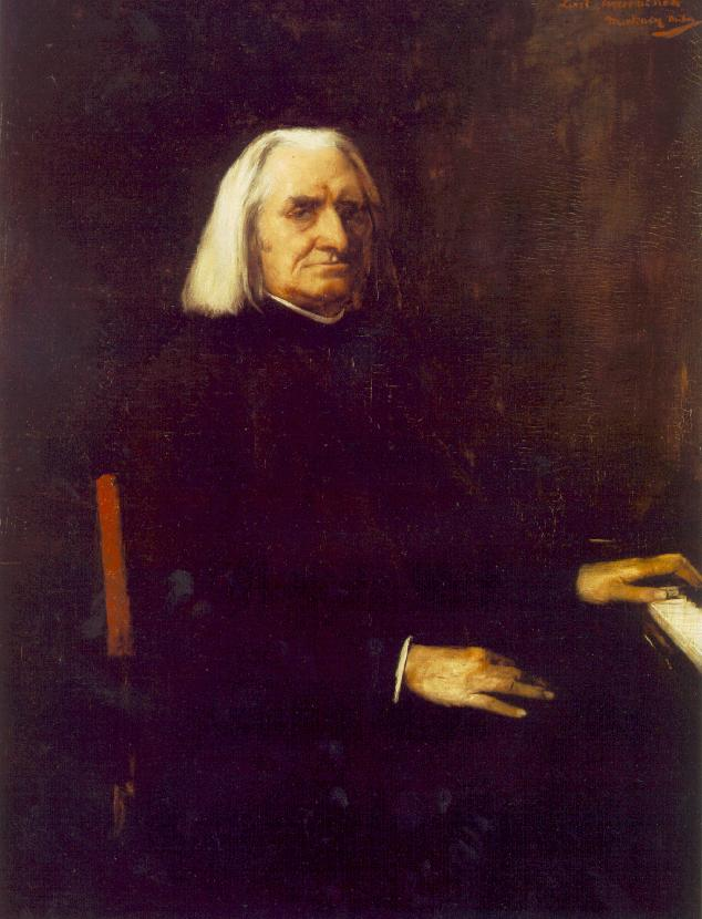 "Franz Liszt (1811-1886), the pianist and composer born in Hungary. Liszt was ""a major sensation"" in 1841 and 1842, when he played in Brussels on a European tour.  Oil painting by Mihály Munkácsy, at the Hungarian National Museum, Budapest."