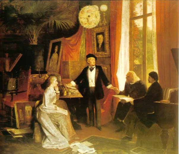 Displayed by Icons of Europe: Wagner explaining his Ring cycle to this wife (Cosima Wagner née Liszt), Franz Liszt and Hans von Wolzogen. Painting by W. Beckmann. © Richard Wagner Museum, Luzern.