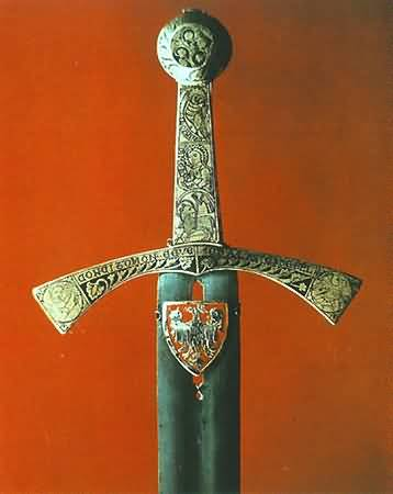Szczerbiec, the bejewelled sword used since 1320 in the coronation ceremony of Polish kings.  Photo by Janusz Podlecki for the Royal Wawel Castle, Krakow, Poland.